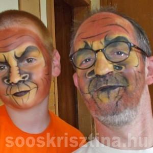 Majom arcfestés. festő: Soós Krisztina