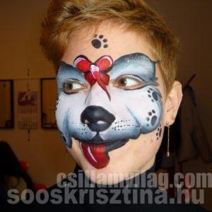 Kutya, Középhaladó arcfestés tanfolyamon, Csillámvilág arcfestés tanfolyam