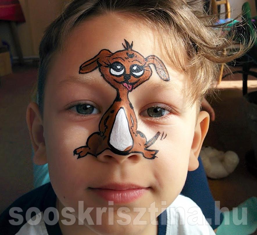 Kutya arcfestés, arcfestő: Soós Krisztina