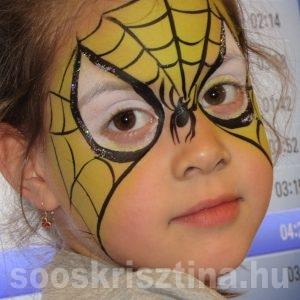 Arcfestés bemutató, Pókember, arcfestő tanfolyam, CsillámVilág