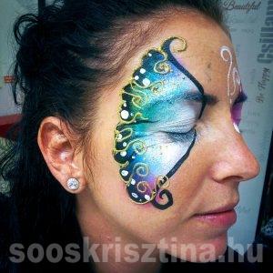 Arcfestés pillangó minta, tanfolyamon festés