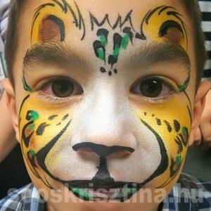 Leopárd arcfestés, arcfestő: Soós Krisztina